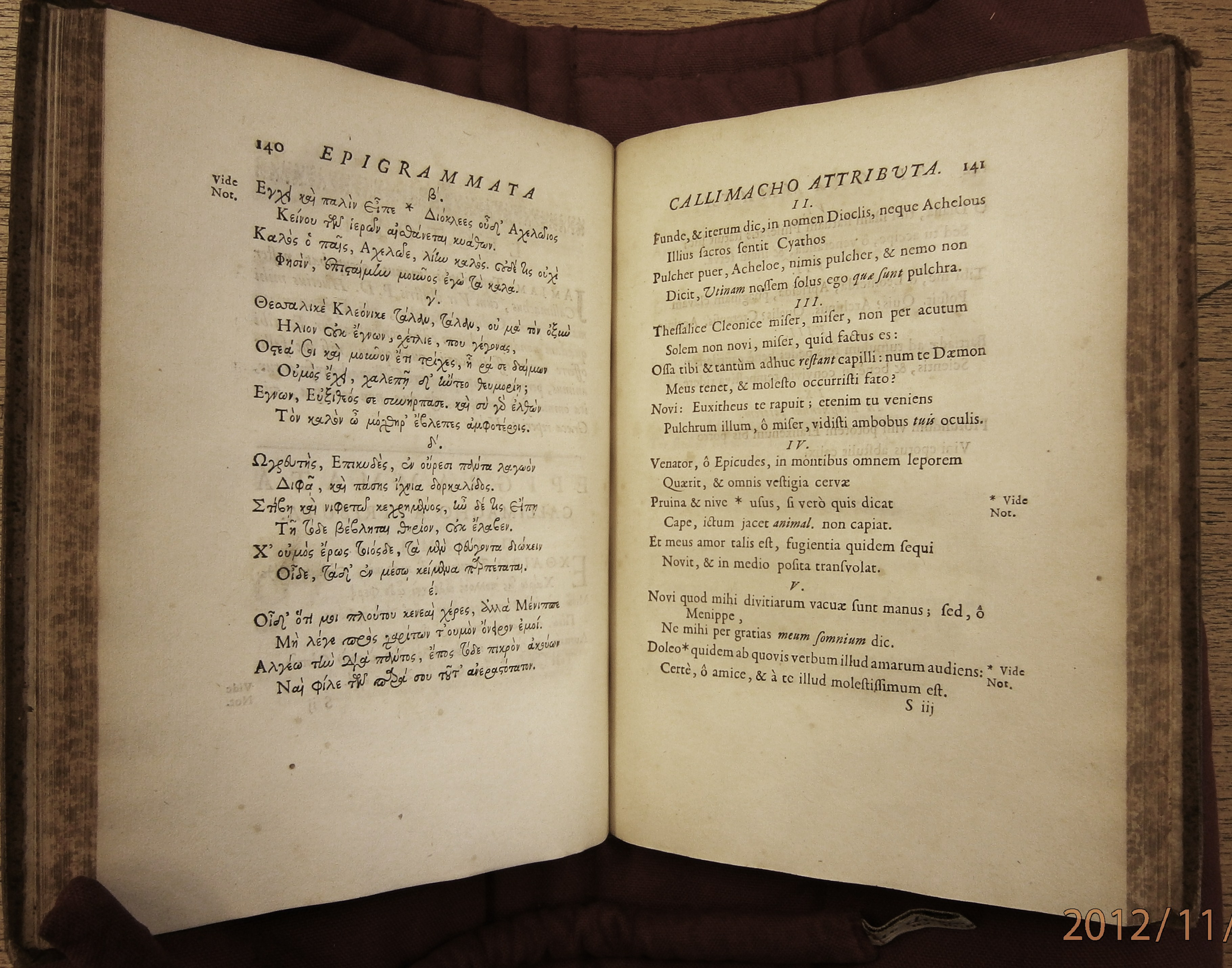 2 Callimaque, texte grec et traduction, Paris 1675