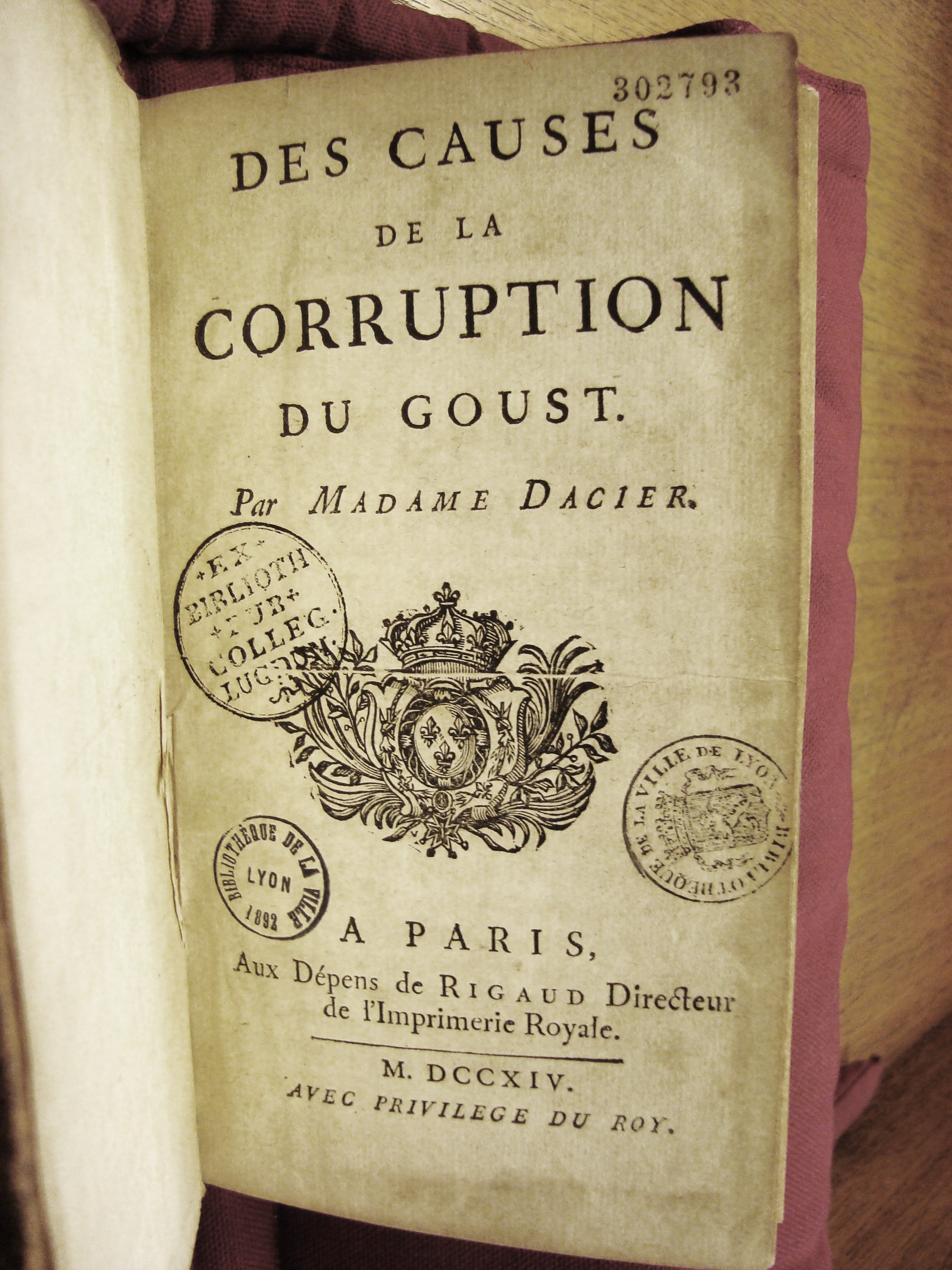 23 Des Causes de la corruption du goust, Paris, 1714